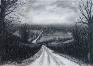 Overlooking the Levels, Charcoal
