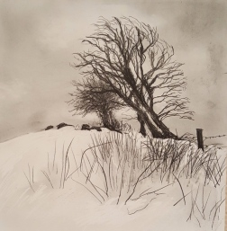"'Snow on Mendip' 8"" x 8"""