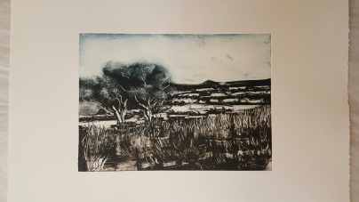 'Towards Glastonbury Tor', Monotype