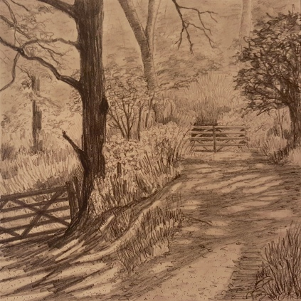 'Walking the old Strawberry Line' Graphite