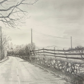 "Dartmoor Lane, Graphite on board 8"" x 8"""